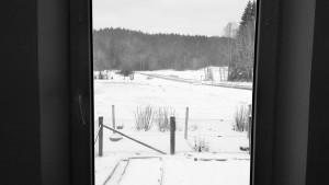 Blick aus dem Fenster auf die Brücke über die kleine Ohe